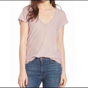 James Perse Deep Scoop Neck Tee Dusty Pink Size L